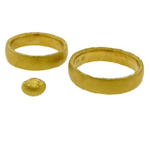 Pure Gold Wedding Ring Set