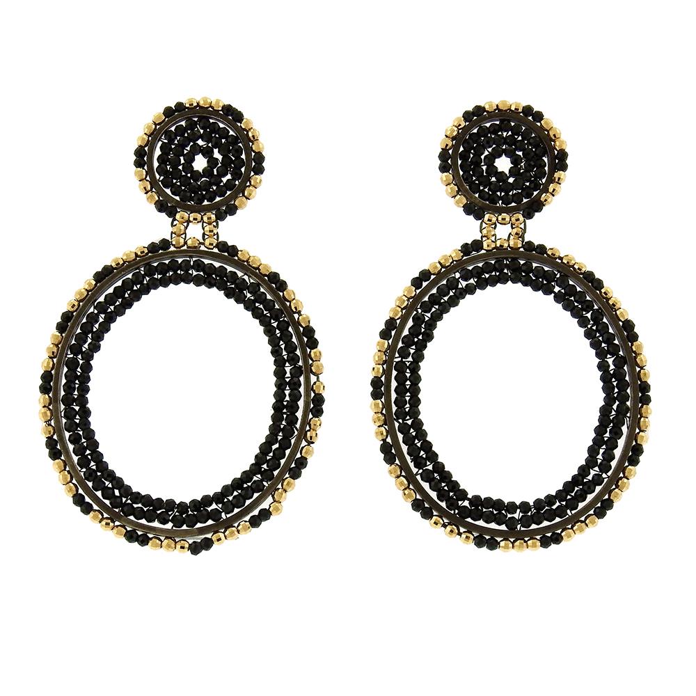 Beth Farber Black Spinel Hoop Earrings Aaron Faber
