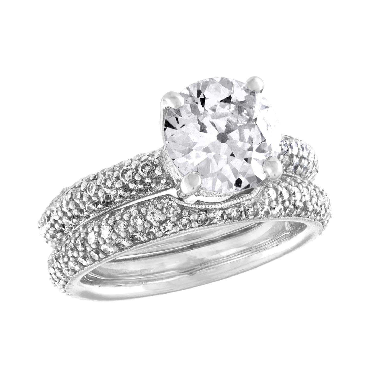 2 18 Carat Center Diamond Engagement Ring Set Aaron Faber