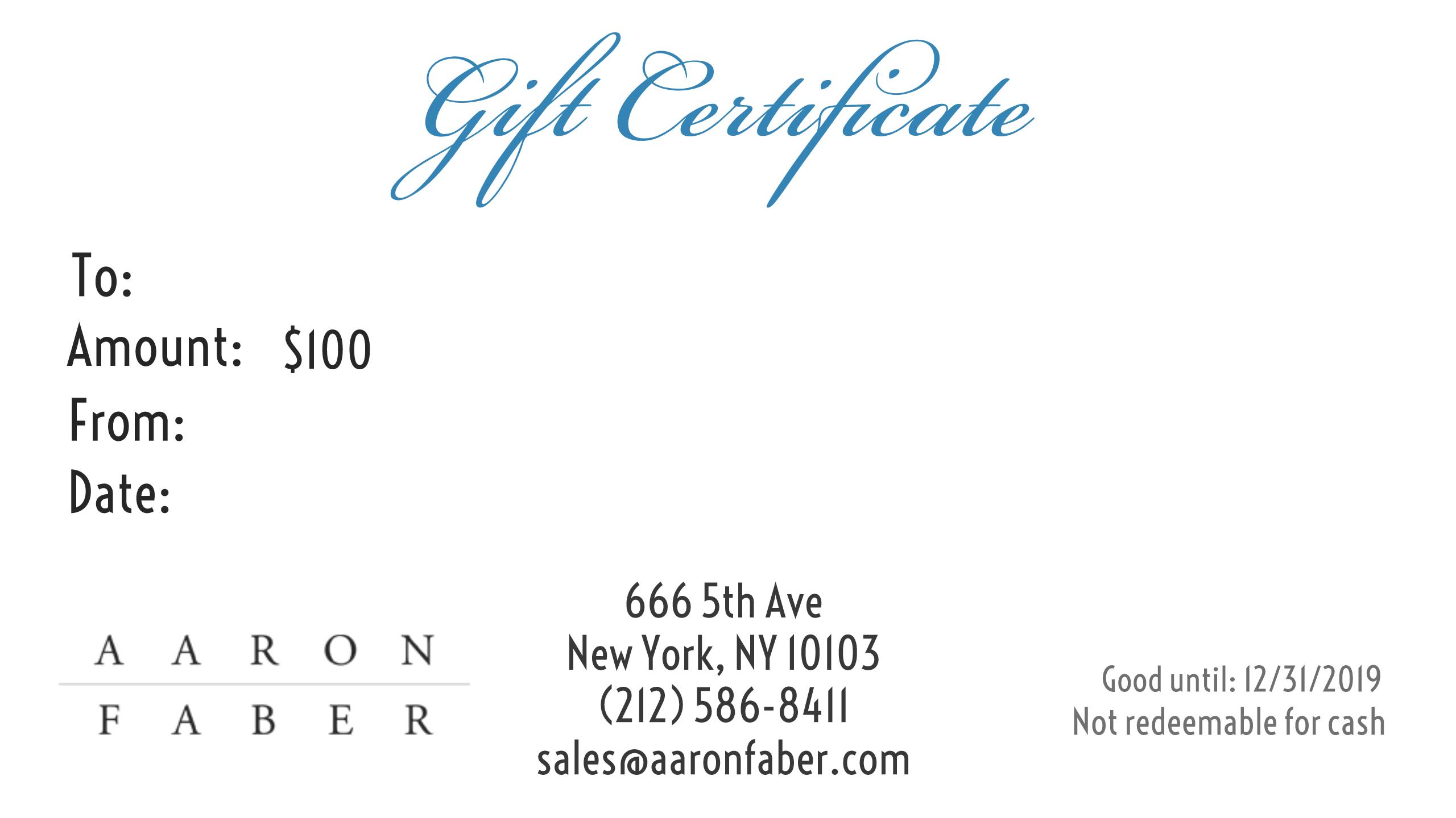 100 Gift Certificate Aaron Faber