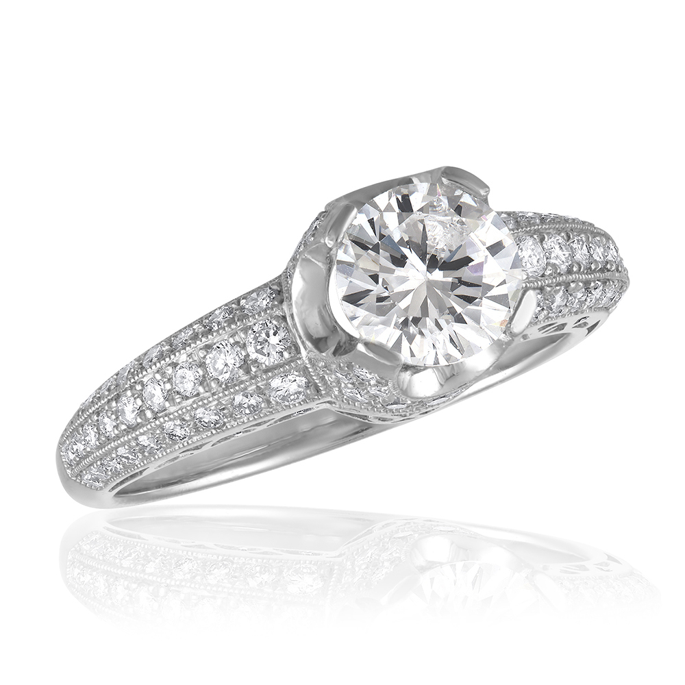 Lucie Campbell Platinum Engagement Ring Mounting Aaron Faber