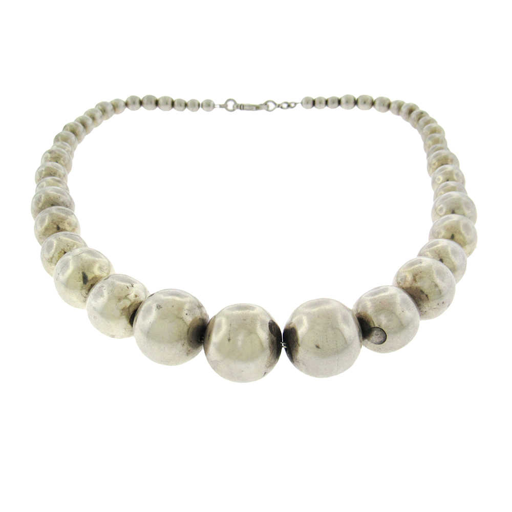 Tiffany Co Graduated Sterling Bead Necklace Aaron Faber